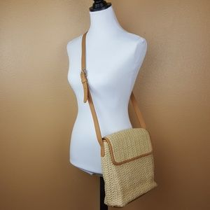 🌟FOSSIL Wicker Tan Cream Crossbody Handbag #75082